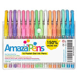 AmazaPens Coloring Gel Pens for Adult Coloring Books, 16 Pastel Colors, 150% More Ink for Arts,
