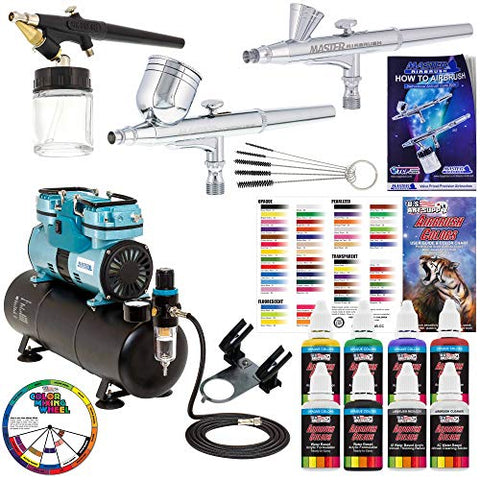 Powerful Master Airbrush Gravity and Siphon Feed Airbrushing System with 3 Airbrushes, 6 U.S. Art Supply Primary Colors Acrylic Paint Set - Cool Running 1/4 hp Twin-Piston Air Compressor, Storage Tank