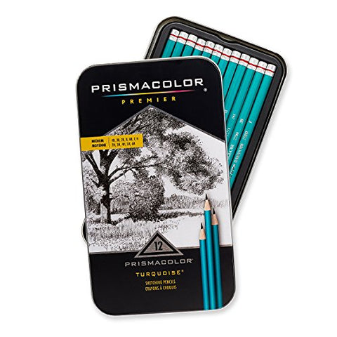 Prismacolor Premier Turquoise Graphite Sketching Pencils, Medium Leads, 12-Count