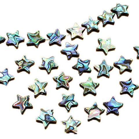 QTMY 15 PCS Nature Abalone Shell Star Spacer Beads for Jewelry Making in Bulk (Abalone Shell Stars)