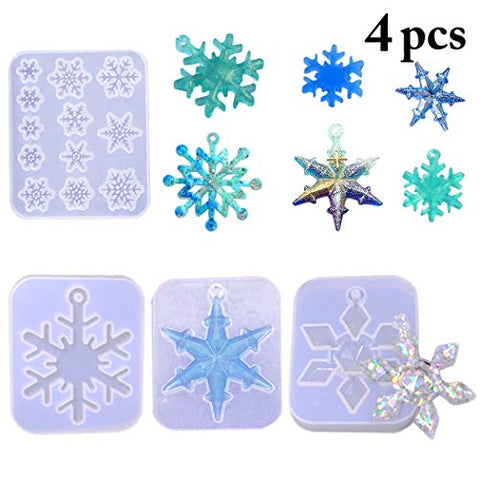 DIY Casting Molds, Outgeek 4PCS Snowflake Resin Molds DIY Silicone Casting Soap Mold Epoxy UV Resin Mould for DIY Crafts Necklace Earrings Pendants DIY Wedding Decorations