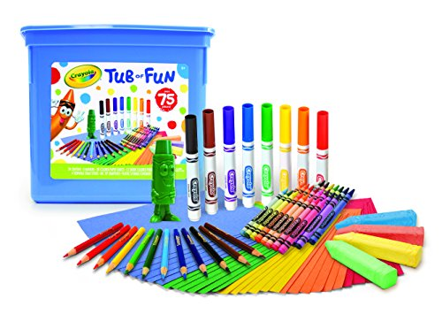 Crayola Tub of Fun, Over 75 Art Tools, Crayons, Markers, Colored Pencils, Construction Paper, Makes
