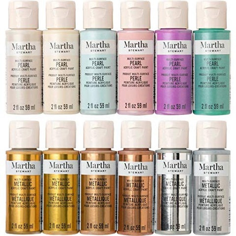 Martha Stewart Crafts 12 Color Multi-Surface Acrylic Craft Paint Set, 2oz, Metallics and Pearls