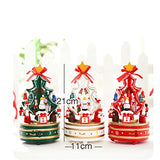 Music Box Christmas Tree Music Box Wooden Rotating Music Box Birthday Present (Color : B)