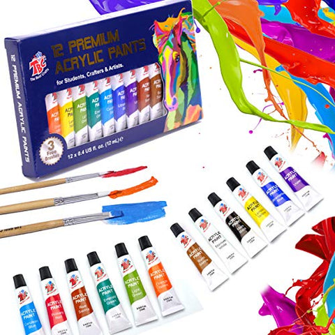 TBC The Best Crafts 12 Colors(12 x 12ml) Acrylic Paint Set for Professional Artists, Adults. Rock Painting, Clay Paint, Canvas, Fabric Paint Arts and Crafts Supplies & Student School Art Essentials