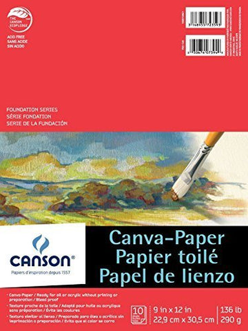 "Canson 100510841 Paper Canvas Pad, 9"" x 12"" Size, 0.25"" Height, 9"" Width, 12"" Length, White"