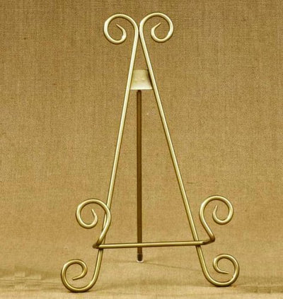 "11""h Gold Finish Metal Display Easel/Platter Stand ~ Great for Display Photo Frames and Collectible"
