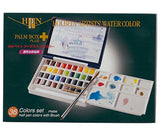 Holbein Watercolor Set: Palm Plastic Case: 36 Half Pans