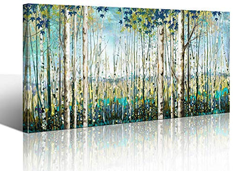 Green View White Birch Forest Canvas Painting Wall Art Decor Nature Plant Picture Wildlife Trees Landscape Artwork Home Living Room Bedroom Office Wall Decoration Wall Art