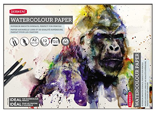 Derwent Watercolor Paper Pad, A2, 23.39 x 16.54 Inches Sheet Size, 12 Sheets (2301972)