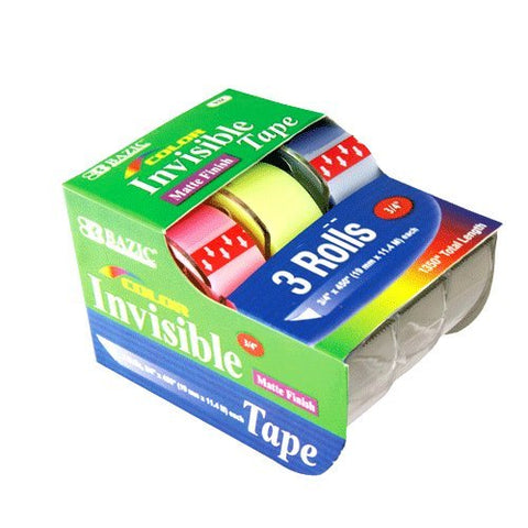 "BAZIC 3/4"" X 500"" Color Invisible Tape (3/Pack), Case Pack of 144"
