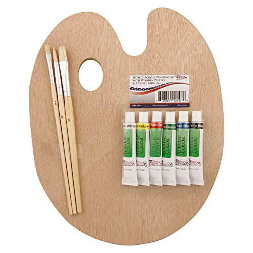 US Art Supply Wood Palette with 6-Piece Acrylic Paint Set & 3-Piece Brush Set