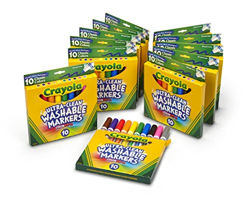 Crayola Ultra-Clean Washable Markers, Broad Line, Great for Kids, 12 Pack of 10 Count