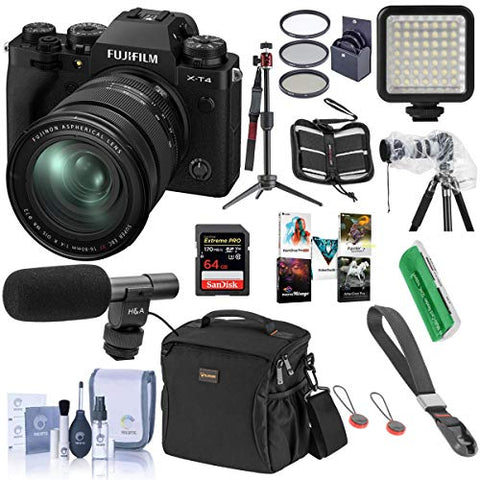 Fujifilm X-T4 Mirrorless Camera with XF 16-80mm f/4 R OIS WR Lens, Black - Bundle with Shoulder Bag, 64GB SDXC Card, H&A Shotgun Mic, Table Top Tripod, Mini LED Light, Peak Cuff Wrist Strap, More