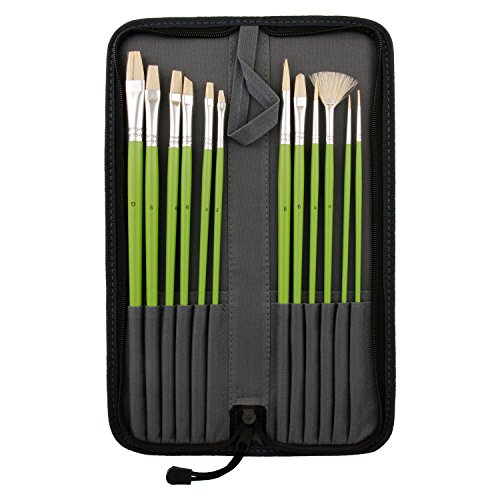 US Art Supply 12-Piece Long Handle Bristle Hair Artist Oil Paint Brush Set Green Handle with