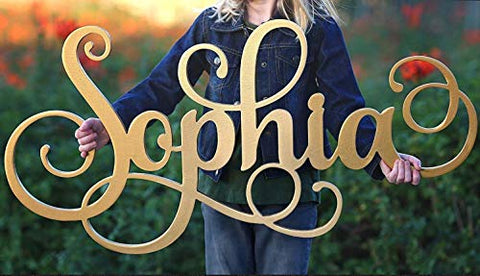 Custom Girls Name Nursery Wooden Sign, Sophia Font Personalized Nursery Decor, New Baby Gift, First Name Wood Cutout, Personalized Kids Room Sign Decor