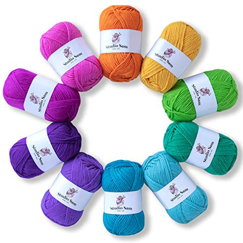 Studio Sam Acrylic Yarn Set. Ten Large 50g Skeins. Total 1030 Yards. Perfect for All Knitting, Crochet and Craft Projects. (Confetti Collection)