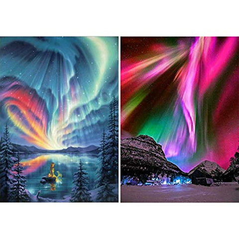 Yomiie 2 Pack 5D Diamond Painting Aurora Polaris Full Drill by Number Kits, Polar Lights Scenery Paint with Diamond Art Rhinestone Embroidery Cross Stitch Craft Decor (12x16inch) a151