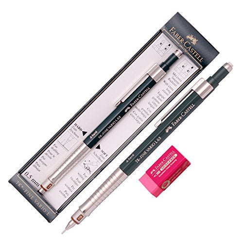 Faber Castell Tk Fine Vario L Drafting Mechanical Pencil 0.5 Mm +Packing Case / Gift Eraser