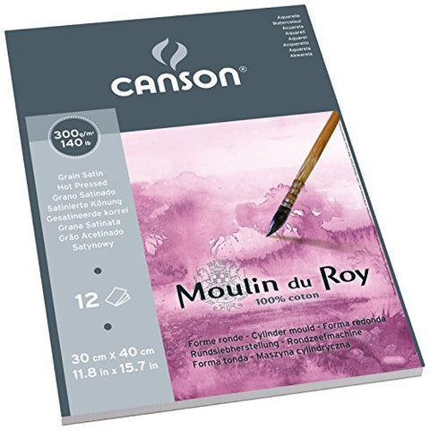 Moulin Du Roy Watercolor Pad Hot Press 12X16 by Moulin du Roy