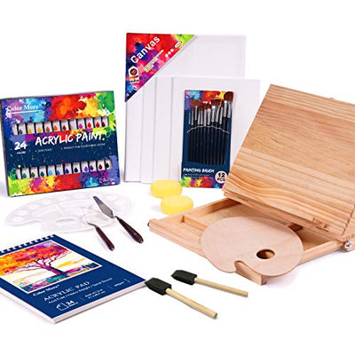 Acrylic Paint Set, 51 Piece Professional Painting Supplies Set, Includes Wood Table Easel, Painting Brushes, Acrylic Paints, Palette and Acrylic Painting Pad,for Artists,Students and Kids