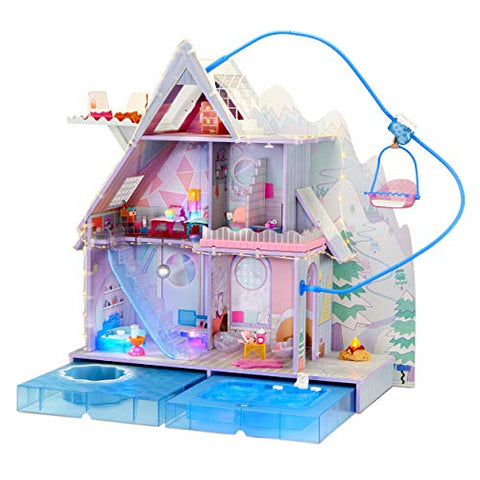 LOL Surprise OMG Winter Chill Cabin Wooden Doll House with 95+ Surprises, Hot Tub and Real Ice Skating Rink- Accessories and Furniture Dolly Toddler Toys -Multicolor