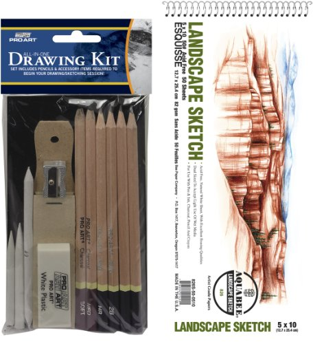 Pro Art 5-Inch by 10-Inch Sketch All In One Value Pack