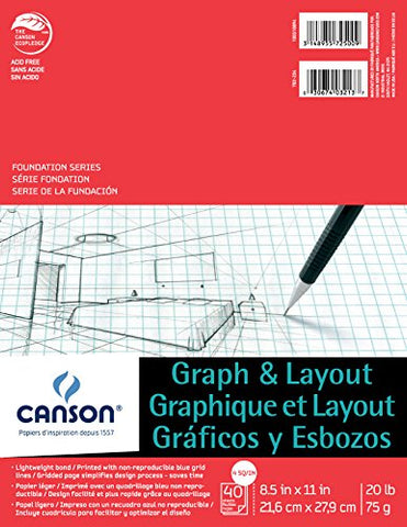 Canson Foundation Series Graph and Layout Paper Pad with Non Reproducible Blue Grid, Fold Over,