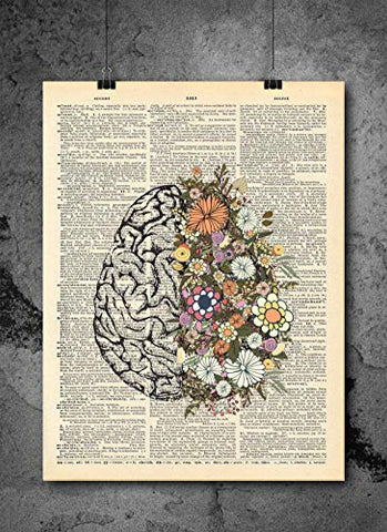 Anatomical Brain And Flowers Print - Vintage Art - Authentic Upcycled Dictionary Art Print - Home or Office Decor - Inspirational And Motivational Quote Art