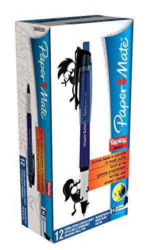 PaperMate Replay Max Eraseable Ball Pen Medium Blue - Box of 12