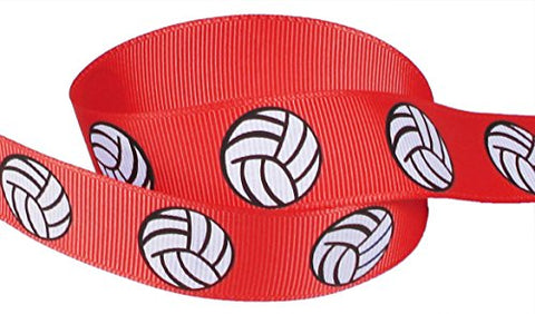 "Volleyball Ribbon for Crafts, Red-Hipgirl 5yd 7/8"" Sports Grosgrain Fabric Ribbon for Gift"