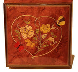 Heart Butterfly Italian inlaid musical jewelry box with customizable tune options