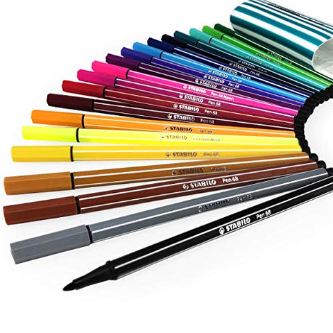 STABILO Pen 68 Fineliner - 1.0mm Line - Zebrui Set - Assorted Wallet of 20 Colours