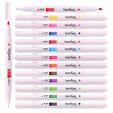 Nature Bamboo Shaped Water-based Twin Tip Color Markers Pen with (Pack of 12)