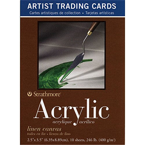 Strathmore Paper 105-905 400 Series Trading Cards Linen Canvas, 10 Sheets, Natural White