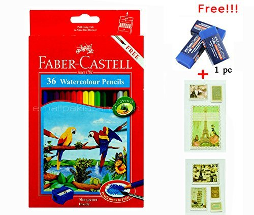 Faber Castell Watercolor Pencil 36 with Free Premium Faber Castell Eraser Best Colored for Adult