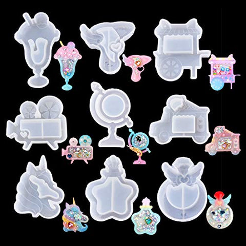 FineInno 9Pcs Quicksand Resin Casting Molds,Resin Art Shaker Mold, Crystal Silicone Hollow Mold Epoxy Pendant Molds Ice Cream, Unicorn, Wings (9Pcs Resin Casting Molds)