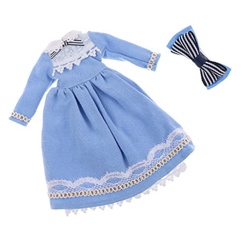 MagiDeal Light Blue Skirt Dress Hairclip Clothing for 1/6 Fashion Doll Neo Blythe Azone Licca Dolls Accessories