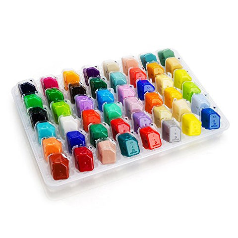 48 Portable Color Gouache Paint Set Unique Jelly Cup Design with Individual Paint Pan for Artists , Students (48 Colors, 35ml)