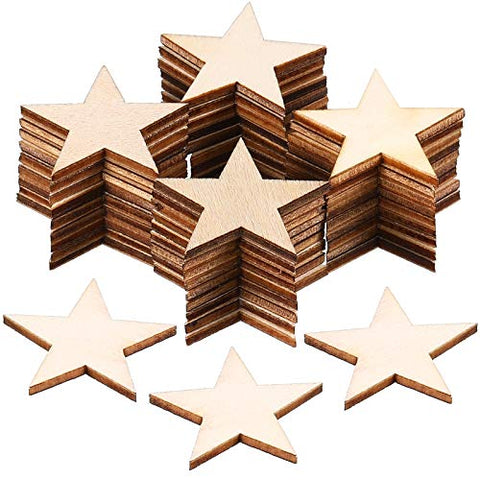 200 Pieces Star Shape Unfinished Wood Cutouts Blank Wooden Stars DIY Wood Star Pieces Ornaments for Handicrafts Projects Decor Supplies (1-1/4 Inch)