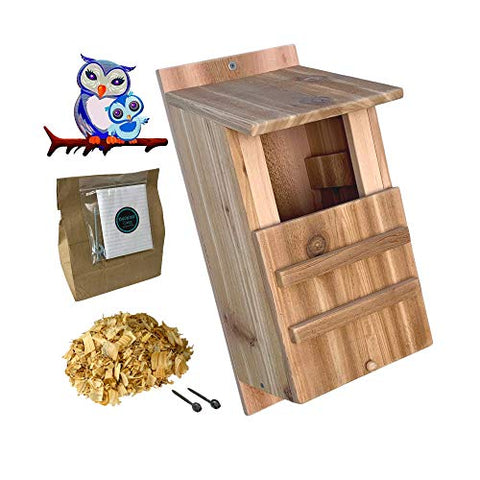 KingWood Premium Cedar Owl House, Large Owl Box, Large Bird House, Owl House Box For Nesting