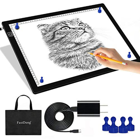 "A3 Magnetic Light Pad - Portable Tracing Light Box for Drawing - Professional Light Table with 4 Magnets, 0.27"" Ultra-Thin Light Board with a Matching Bag & USB Cable for Diamond Painting, X-ray View"