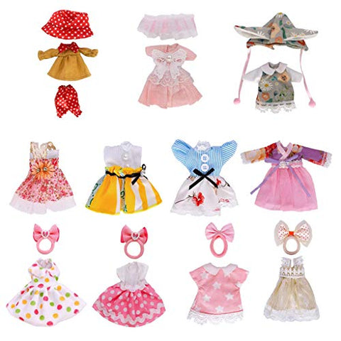 Lembani  1/8 BJD 11 Sets Cute Dolls Clothes Party Dress Outfits for 5-6inch Mini Girl Dolls, Fashion Doll Handmade Clothes Accessory for Kids Birthday Xmas Gifts