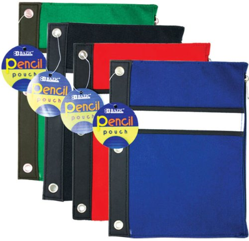 3 Pk. BAZIC Assorted Color 3-Ring Pencil Pouch (Boys)