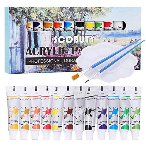 Acrylic Paint, Acrylic Paint Set, Acrylic Paint Brushes, Acrylic Paint Palette, Perfect for Canvas, Wood, Ceramic, Office & Stationery Products for Students,Teachers