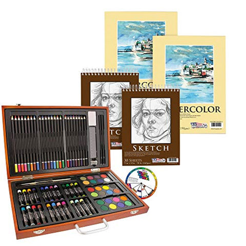 "U.S. Art Supply 82 Piece Deluxe Art Creativity Set Bundle with 9"" x 12"" Premium Extra Heavy Weight Watercolor Painting Paper Pad"