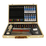 US Art Supply 46-Piece Watercolor Painting Set with, Wood Storage Case, 12-Tubes Watercolor Colors,