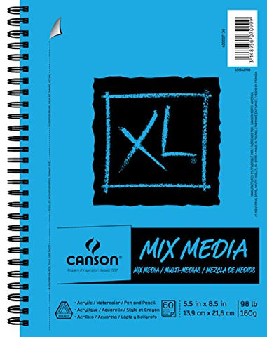 Canson XL Series Mix Media Paper Pad, Heavyweight, Fine Texture, Heavy Sizing for Wet or Dry Media,
