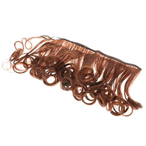 MagiDeal 15x100cm Handmade Curly Wig Hair for 1/3 1/4 1/6 BJD Dolls Brown