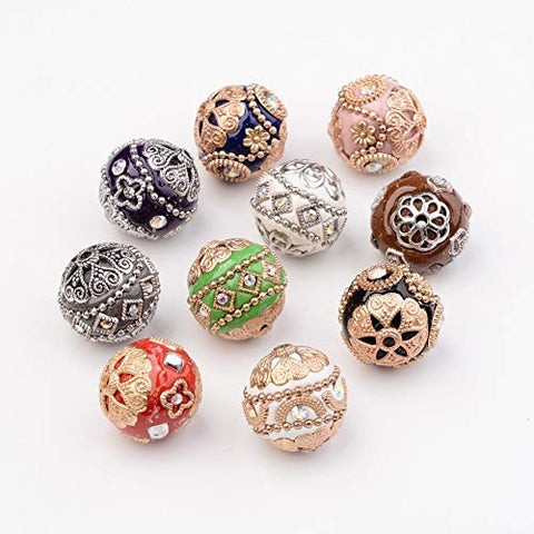 Pandahall 10pcs Handmade Indonesia Round Beads with Alloy Cores 19-20mm Random Mixed Color for Jewelry Making Findings